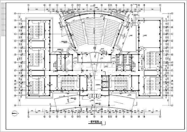 某市学校综合楼全套建筑CAD施工设计图-图3