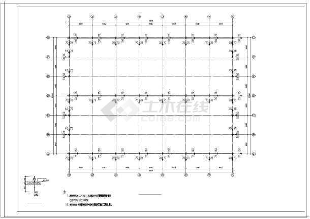 某钢结构食堂建筑结构施工图纸-图2