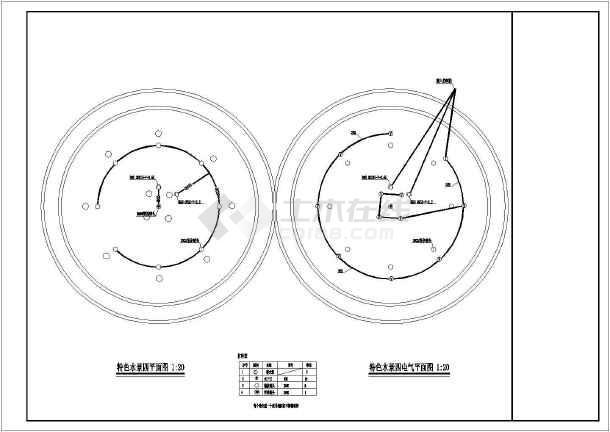 某小区水景电气CAD平面图-图2
