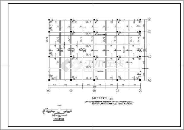 某钢筋混凝土框架结构停车库结构设计cad施工图-图1