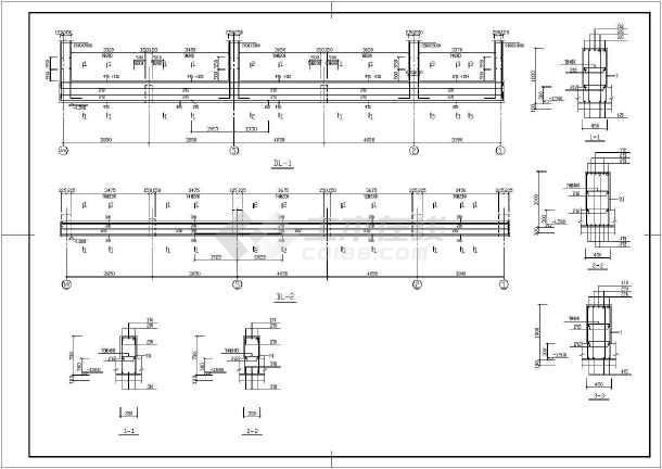 某钢筋混凝土框架结构停车库结构设计cad施工图-图2