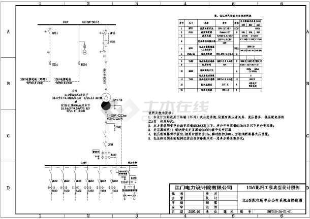 [江门]某10kV变电站公用电cad电气设计施工图-图一