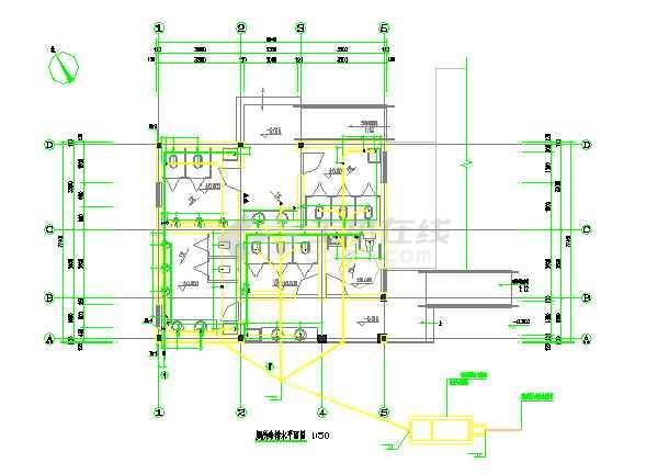 点击查看三套公共厕所给排水专业设计图纸第1张大图