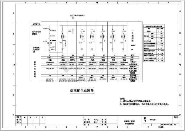点击查看某工厂内部整套电气设计cad施工图第1张大图