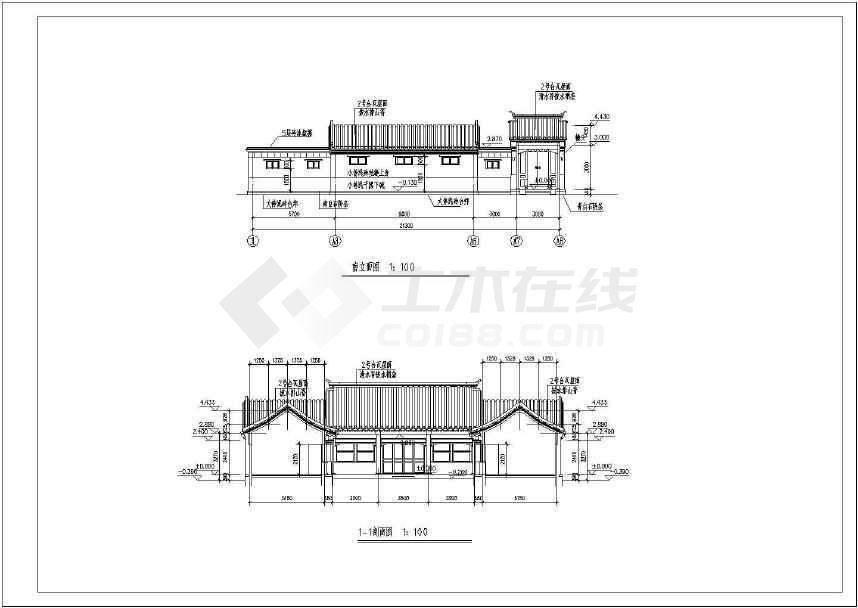 一套小型四合院住宅方案图纸-图二