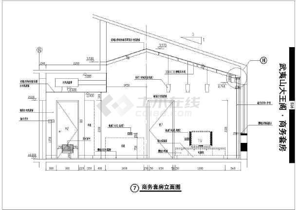 [武夷山]某商务套房室内装修cad施工图-图2