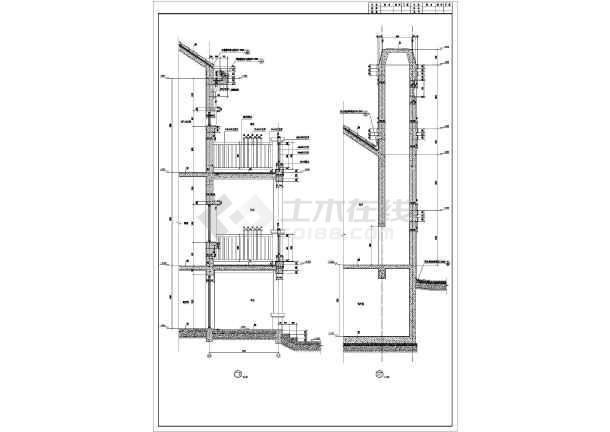 点击查看某地高档别墅T型建筑施工图第2张大图