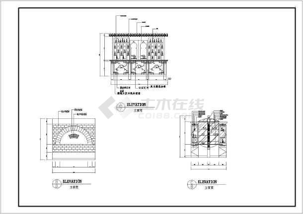 点击查看中餐厅建筑装修施工CAD设计图第1张大图