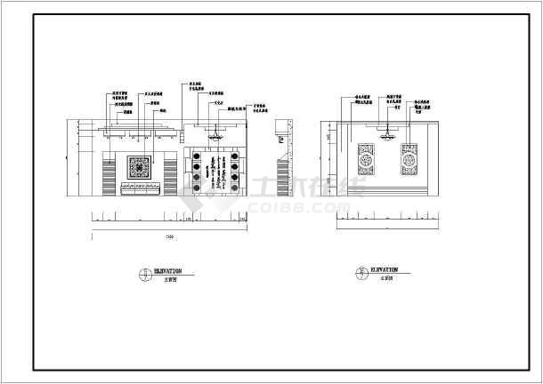 点击查看中餐厅建筑装修施工CAD设计图第2张大图