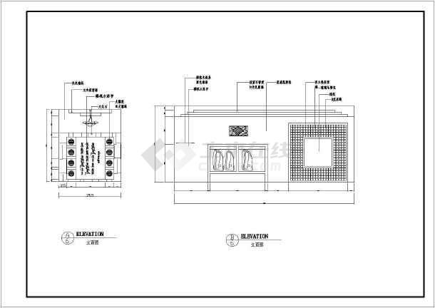 中餐厅建筑装修施工CAD设计图-图2
