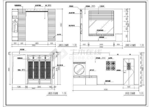一套中式样板房cad室内装修设计施工图-图3