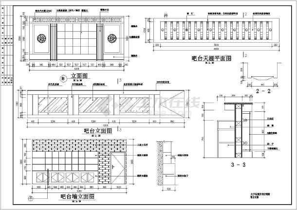 点击查看某市中心餐厅装修设计CAD图纸第1张大图