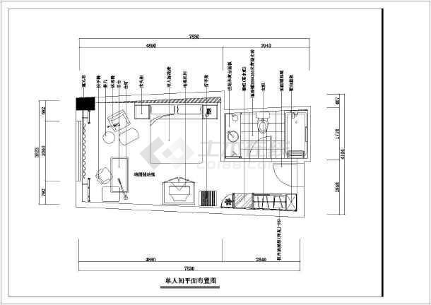 某酒店样板房装修设计cad施工图-图2