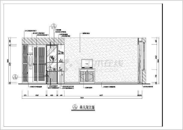 某酒店样板房装修设计cad施工图-图3