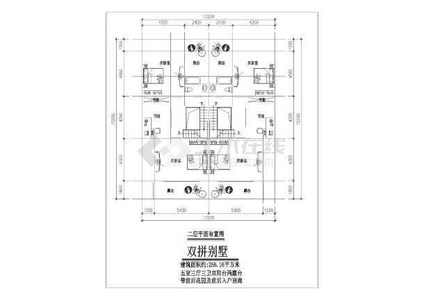 某地小三层现代联拼别墅建筑方案图(共3张)-图1