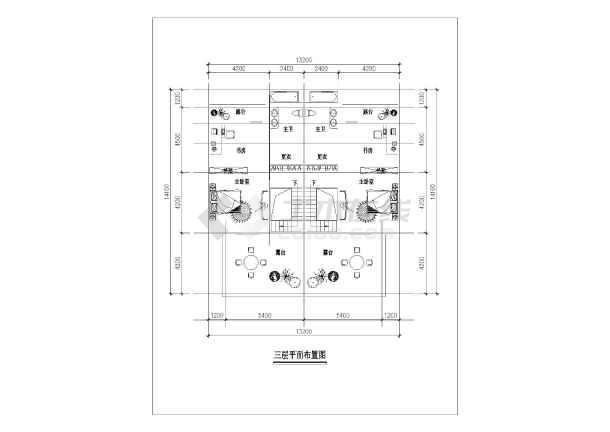 某地小三层现代联拼别墅建筑方案图(共3张)-图2