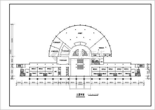 某六层办公大楼建筑设计方案CAD图-图1