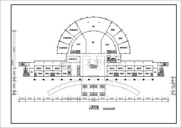某六层办公大楼建筑设计方案CAD图-图3