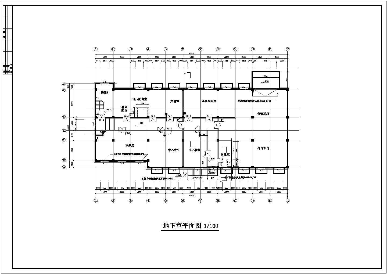 某七层古典风格医院建筑地下室平面图设计方案图片1