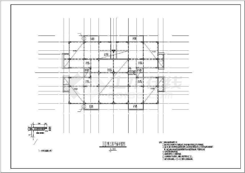 某地4层框架洋房结构设计图(含设计说明)-图3