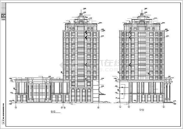 某总工会综合楼建筑设计施工cad图-图一