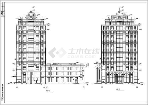 某总工会综合楼建筑设计施工cad图-图二