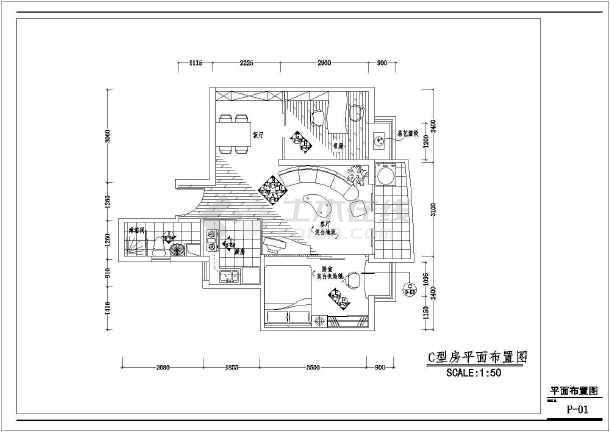点击查看某简洁室内装修设计cad施工图第1张大图