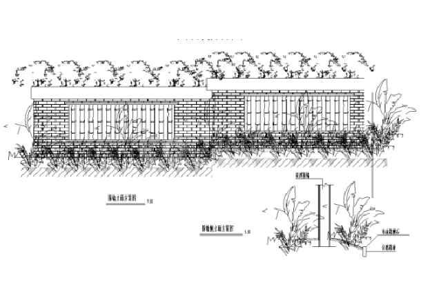 中式园林景观小品围墙设计详图-图1