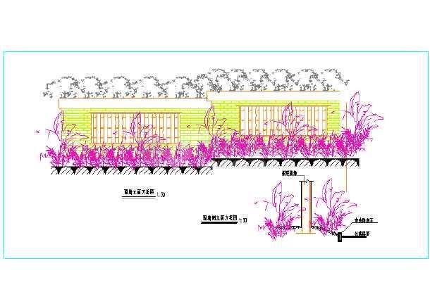 中式园林景观小品围墙设计详图-图3