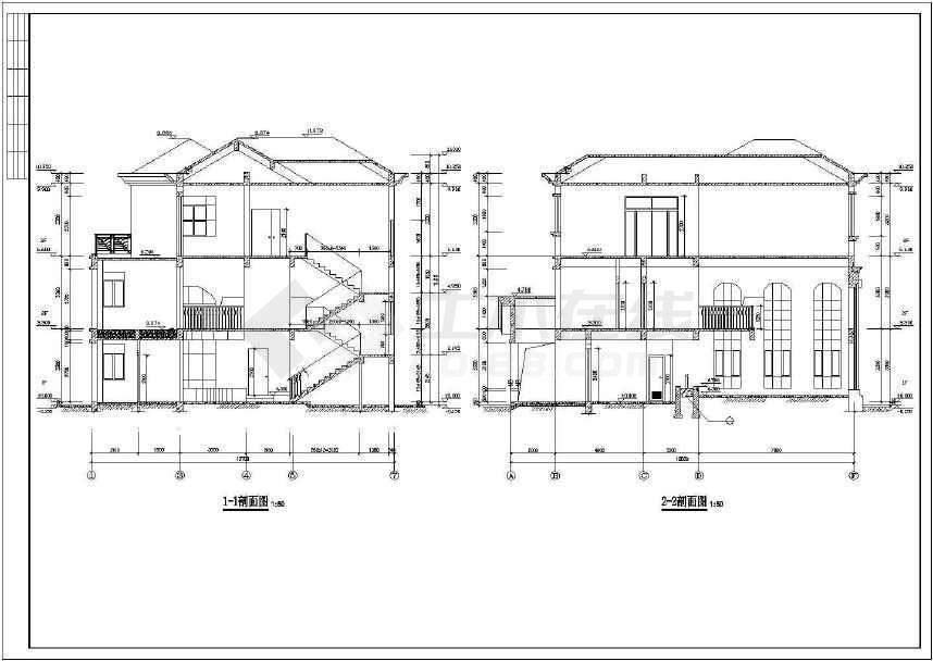 比较简单的小别墅建筑施工图 -图3
