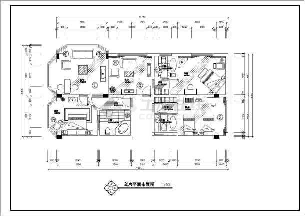 某酒店豪华套房室内装修cad施工图-图2