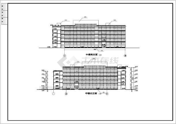 点击查看某地学校体育馆活动中心建筑立面图第2张大图