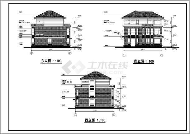 某地三层别墅建筑设计图(共8张)-图1