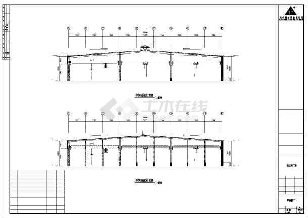 某地钢框架厂房建筑施工图-图1