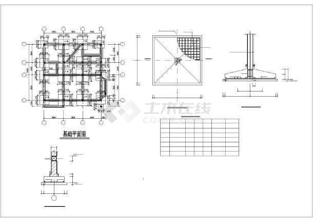 某三层框架别墅建筑结构设计图-图1