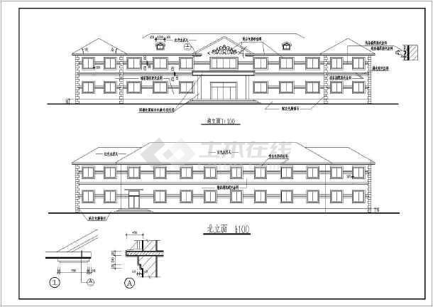 一整套两层小型办公楼建筑设计施工图纸-图3