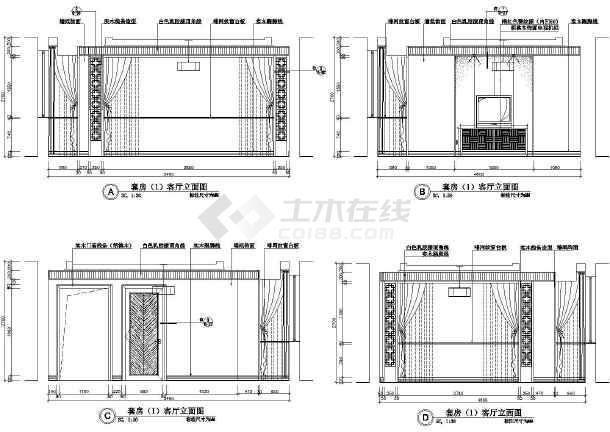 点击查看某总统套房装潢施工设计CAD图第1张大图