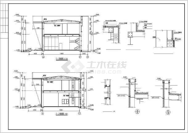 某2层钢结构售楼处建筑结构设计图-图2