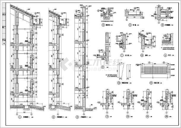 某地大型中学建筑施工图-图1