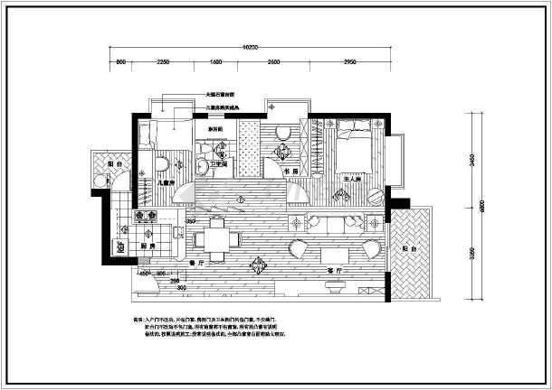 某经典全套家装cad平面施工设计图-图1