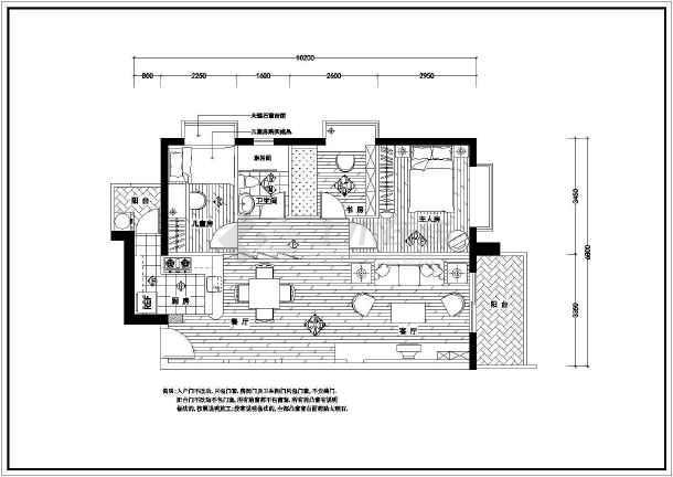 某经典全套家装cad平面施工设计图-图3