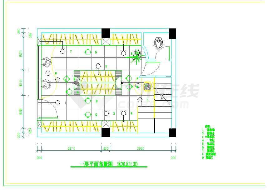 点击查看某地服装店室内装修设计cad方案图(共9张)第1张大图