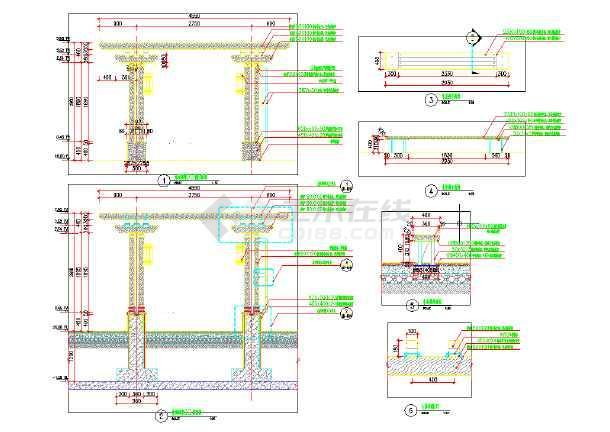 中式休闲廊架木结构图(内含平、立、剖面)-图2