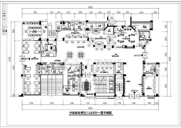 某市银行室内装修设计cad施工图-图1