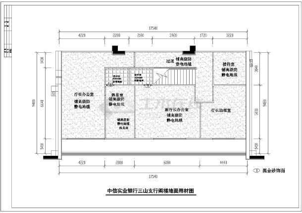 某市银行室内装修设计cad施工图-图2
