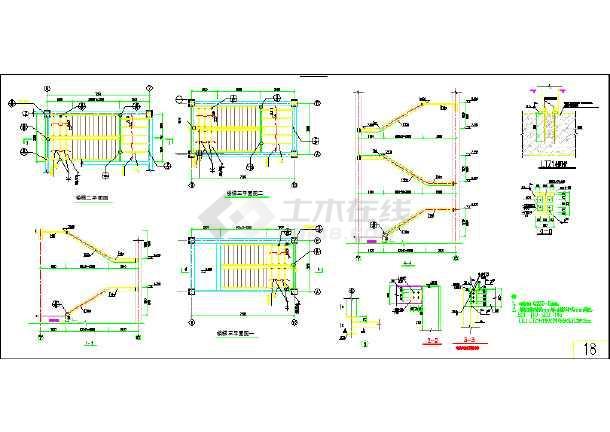 钢结构楼梯平、立面及详图-图2