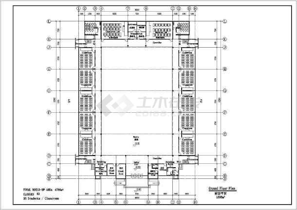 某地中学方案建筑设计图(共5张)-图二