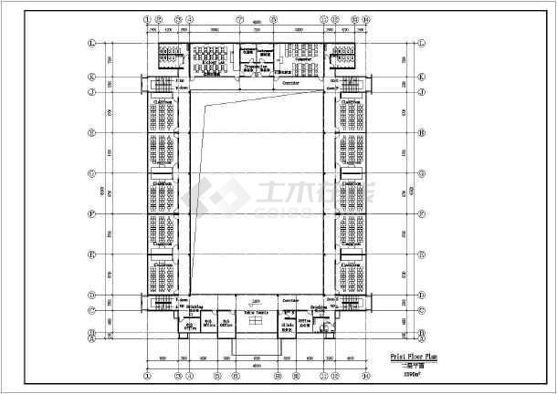 某地中学方案建筑设计图(共5张)-图2