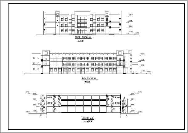 某地中学方案建筑设计图(共5张)-图3