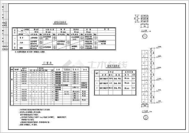 某地大堡小学全套建筑施工图(共15张)-图3
